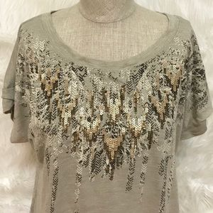 Miss Me Sequin Feather Cap Sleeve Top
